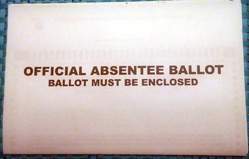 Absentee ballot sleeve.